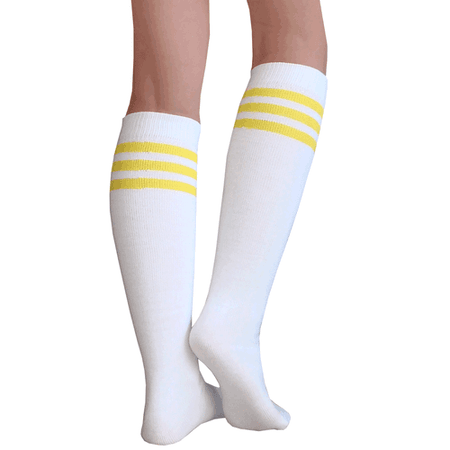White Tube Knee Socks with Yellow Stripes