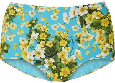 Floral-print Bikini Briefs - Light blue