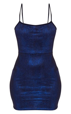 Blue Glitter Metallic Tie Back Bodycon Dress | PrettyLittleThing USA