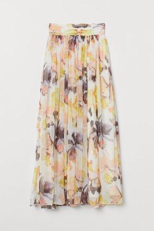 Patterned Maxi Skirt - White