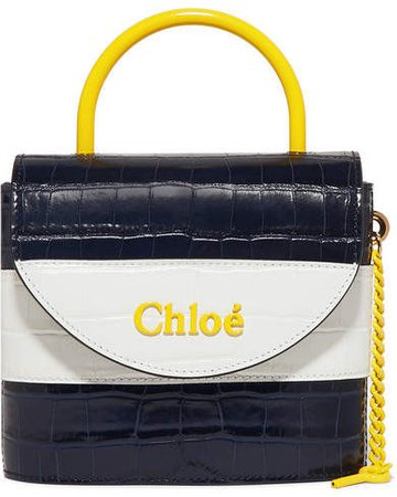 Aby Lock Small Striped Croc-effect Leather Shoulder Bag - Navy