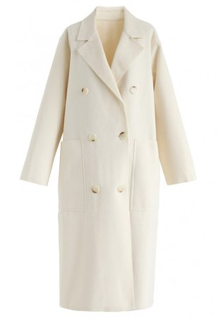 Double-Breasted Wool-Blend Coat in Cream - OUTERS - Retro, Indie and Unique Fashion