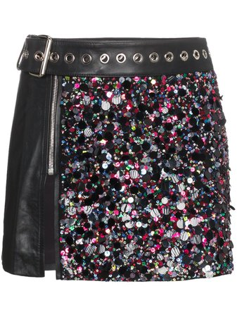 Beau Souci Leather And Sequin Mini Skirt - Farfetch