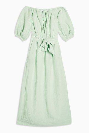 Linen Blend Belted Bardot Midi Dress | Topshop