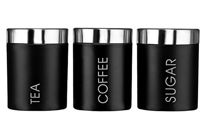 Premier Housewares Liberty Tea, Coffee and Sugar Canisters - Set of 3, Black: Amazon.ca: Home & Kitchen