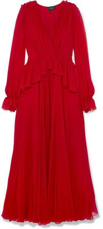 Ruffled Silk-georgette Gown - Red