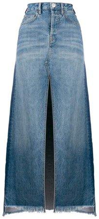 vintage wash denim long skirt