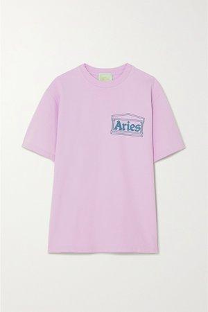 Pink Printed cotton-jersey T-shirt | Aries | NET-A-PORTER