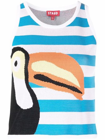 Shop STAUD Playa graphic-print tank top with Express Delivery - FARFETCH
