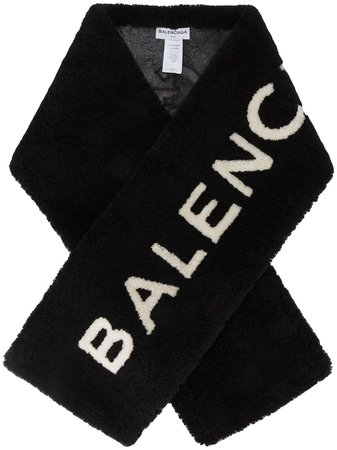 Balenciaga Shearling Logo Scarf Ss19 | Farfetch.com