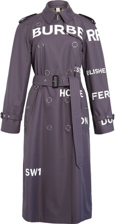 Wharfbridge Horseferry Print Cotton Gabardine Trench Coat