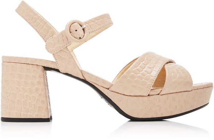 Croc-Embossed Chunky Leather Sandals