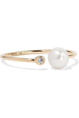 Mizuki | 14-karat gold, pearl and diamond ring | NET-A-PORTER.COM