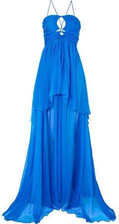 Dundas - Cutout Tiered Silk-chiffon Gown - Blue