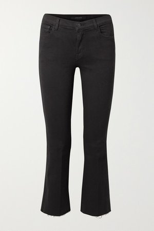 Selena Cropped Frayed Mid-rise Bootcut Jeans - Black