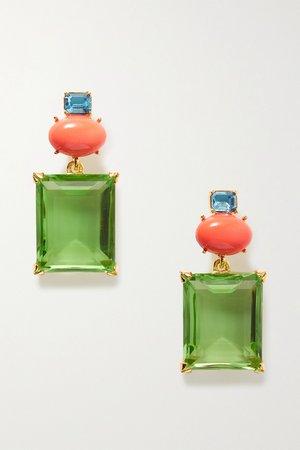 Gold + Brandon Maxwell gold-plated multi-stone earrings   Kenneth Jay Lane   NET-A-PORTER