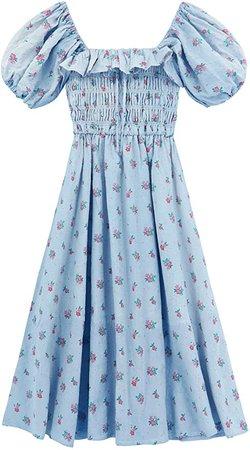 R.Vivimos Womens Summer Floral Print Puff Sleeves Vintage Ruffles Midi Dress at Amazon Women's Clothing store