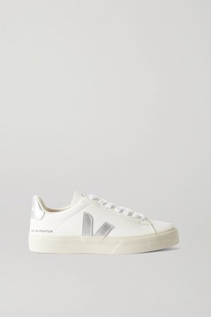 Net-a-porter Campo Metallic-trimmed Leather Sneakers - White