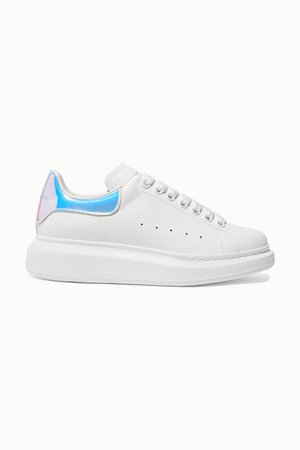 Alexander McQueen | Iridescent-trimmed leather exaggerated-sole sneakers | NET-A-PORTER.COM