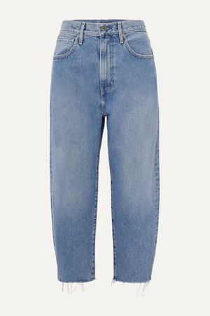 Mid denim Barrel cropped distressed high-rise wide-leg jeans | Levi's® Made & Crafted® | NET-A-PORTER