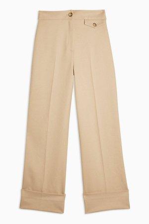 Sand Wide Leg Cuff Trousers | Topshop