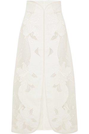 Zimmermann   Corsage embroidered linen and silk-blend canvas skirt   NET-A-PORTER.COM