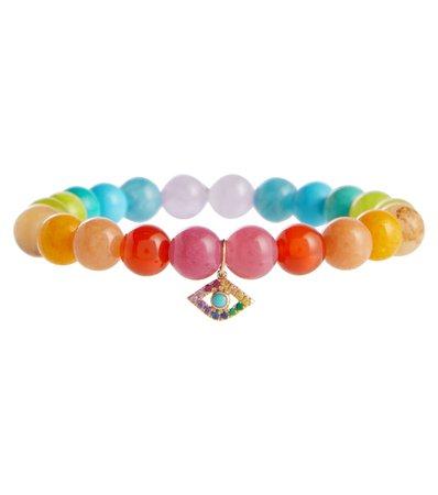 Sydney Evan - Rainbow jade bracelet with 14kt yellow gold charm | Mytheresa