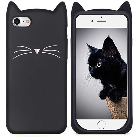 Amazon.com: iPhone 6S Case, MC Fashion Cute 3D Black MEOW Party Cat Kitty Whiskers Soft Silicone Case for Apple iPhone 6/6S (Cat-Black): Cell Phones & Accessories
