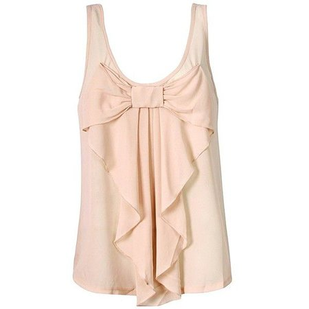 CHIFFON BOW FRONT TOP in Light Pink