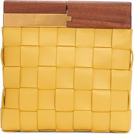 Wood & Intrecciato Leather Clutch