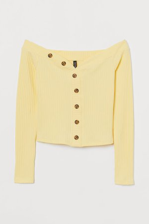 Ribbed Off-the-shoulder Top - Light yellow - Ladies | H&M US