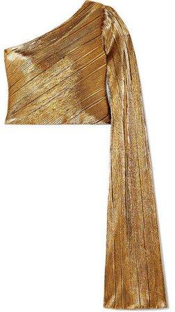SemSem - One-shoulder Plissé-lamé Top - Gold