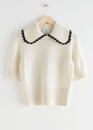 Wide Collar Wool Knit Sweater - White - Sweaters - & Other Stories