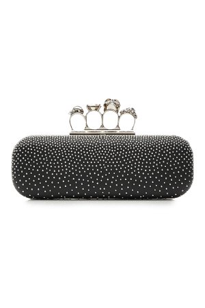 Studded Leather Knuckle Box Clutch Gr. One Size
