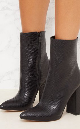 Black High Point Ankle Boot | PrettyLittleThing USA