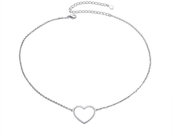 "New Mum Gifts Flyow Sterling Silver Chain S925 Choker Short Necklace for Women Girls Daughter, Love Heart Pendant with Adjustment Cable Chain 13""+3"", Gift Box: Amazon.co.uk: Jewellery"