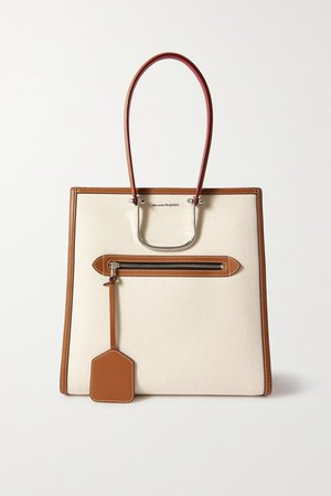 The Tall Story Leather-trimmed Canvas Tote - Tan