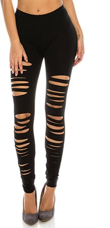 The Classic Women's Cutout Leggings - Ripped Hole Stretch Elastic Full Length Tights Workout Active Pants Regular Plus Size at Amazon Women's Clothing store