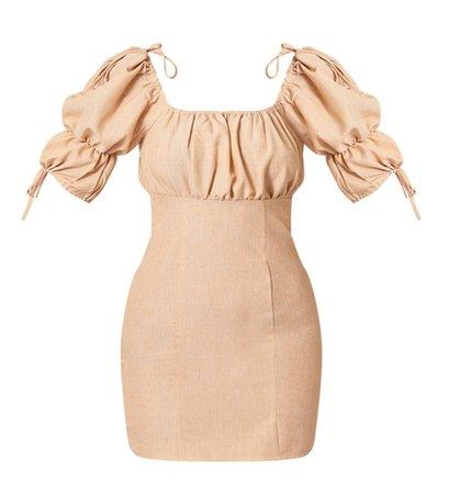 peach puff sleeve dress