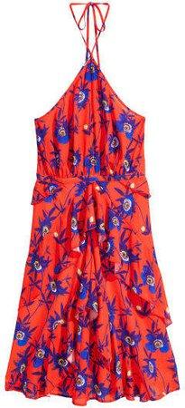 Patterned Halterneck Dress - Red