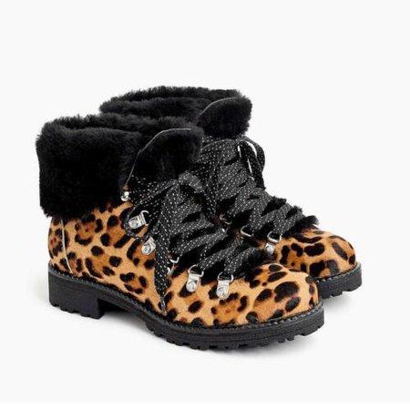 NIB J.Crew Nordic Boots in Leopard Calf Hair Size 9 | eBay