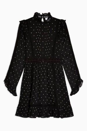 Black Dobby Spot Mini Dress | Topshop