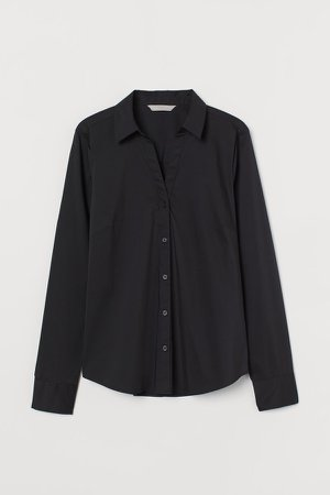 Cotton Poplin Shirt - Black