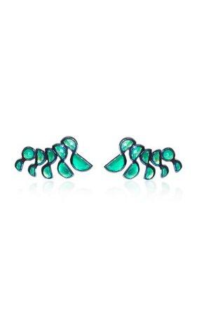Nakard Lobster Sterling Silver Green Onyx Earrings By Nak Armstrong | Moda Operandi