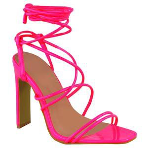 COURTNEY NEON PINK STRAPPY SANDAL HEELS – Envy Shoes UK