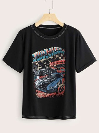 Letter & Car Graphic Tee   SHEIN USA