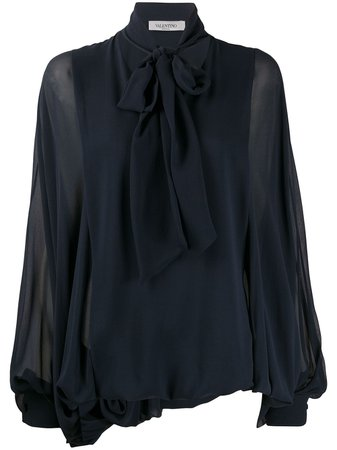 Valentino Pussybow Pouf Sleeve Blouse - Farfetch