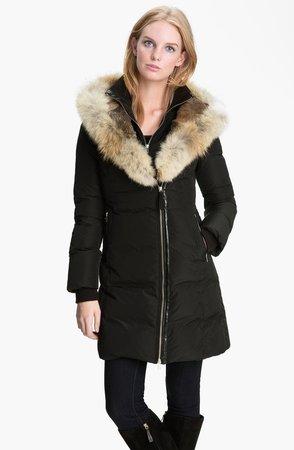 Long Down Coat with Genuine Coyote & Rabbit Fur