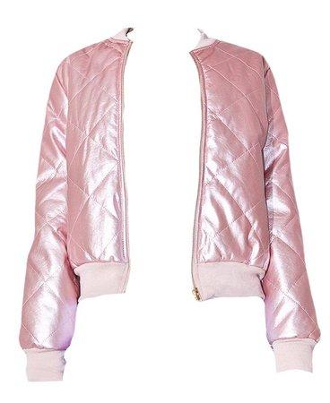 Pink Quilted Satin Bomber Jacket (edit by alldressedupbutnowheretogo)