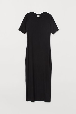 Ribbed Jersey Dress - Black
